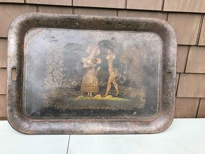 LARGE Antique Tole European Tray French Or English 1850 Courting Scene