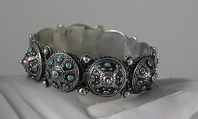 Exquisite Antique Turquoise ITALIAN ETRUSCAN REVIVAL 800 SILVER BRACELET ITALY