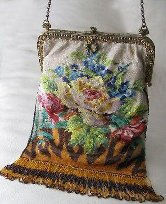 Antique Victorian Amber Floral Crochet French Micro Bead Purse GERMANY MRS Co