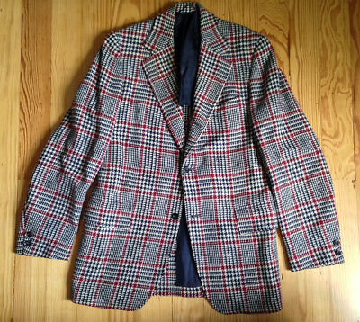 Vintage houndstooth plaid 3/2 roll tweed sack jacket sport coat Ivy Style ~38R