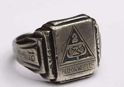 """1945 WWll 2nd Armored Division Coin Sliver Ring - """"HELL ON WHEELS"""""""