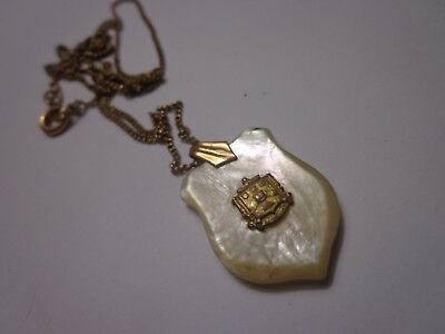 Antique Victorian Mother Of Pearl Shield Necklace