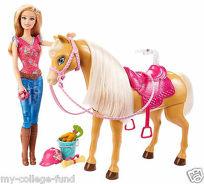 Barbie Feed & Cuddle Tawny Horse and Doll Playset NEW