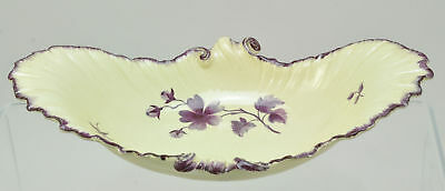 19th Century Antique Wedgwood Creamware Purple Shell Edge Seaweed Dish c 1800