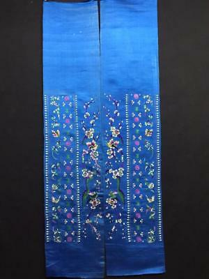 Antique Chinese robe's silk embroidered sleeve bands- Flowers & Butterfly   #10