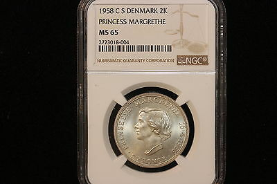 "1958 h (C;S) 2 Kroner ""Princess Margrethe Birthday"". NGC Graded MS-65"