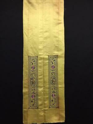 Antique Chinese robe's silk embroidered sleeve bands- Figures & cranes #9