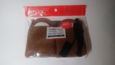 Foldable Slippers <Cotton Pile,Basic> with bag 11.0in 28cm DAISO JPN