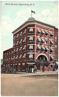 1911 Postcard view of the Hotel Norman Ogdensburg New York NY postally used