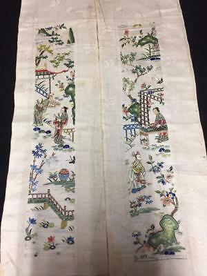 Antique Chinese robe's silk embroidered sleeve bands- Figures & Scenes  #7