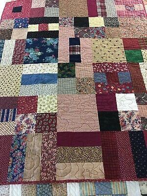Warm & Cozy Handmade Flannel Patchwork Lap Quilt Never Used