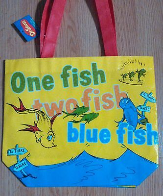 """One Fish two fish Blue Fish Dr. Seuss Reusable Tote BAG aprx 10""""x12"""" Red Handles"""
