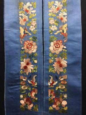 Antique Chinese robe's silk embroidered sleeve bands- Flowers & Butterfly   #6