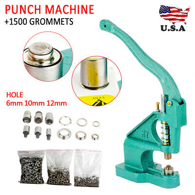 Grommet Eyelet Hole Punch Machine Hand Press Tool Banner Bag+3 Dies+1500Grommets