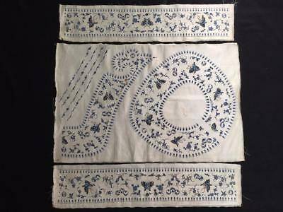 Antique Chinese robe collar and sleeve bands silk embroidery- Pekinese stitch #1
