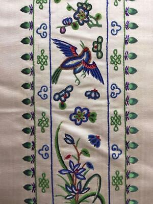 Antique Chinese robe's silk embroidered sleeve bands- Fine Pekinese stitch #2
