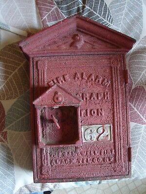 Old Gamewell Fire Alarm Telegraph Station Call Box w/ Gatored Surface & Key
