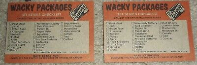 Vintage Wacky Packages fun pack Topps Series 1 checklist puzzle pieces pair