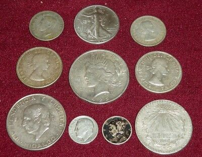 10 MIXED NORTH AMERICAN SILVER COINS; 4 CANADA, 2 MEXICO & 4 U.S., Incl. PEACE $