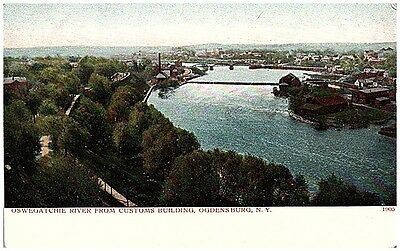 pre 1908 Postcard view of Oswegatchie River & town Ogdensburg NY postally unused
