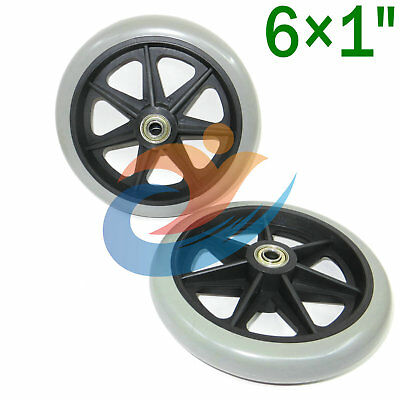 "Rollator Walker Replacement Parts 6"" Caster Wheel With Bearing  2 pcs NEW"