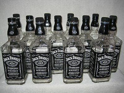 (12) JACK DANIELS TENNESSEE WHISKY 1 Liter Ltr Empty BOTTLES w/ Caps & Labels