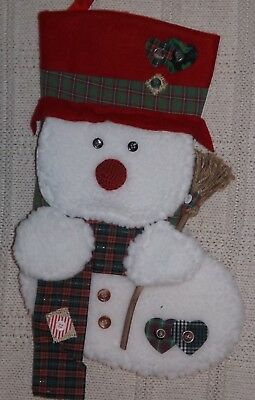 Snowman sock full size Christmas stocking holiday decoration lots of detail