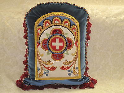 DRAMATIC ANTIQUE NEEDLEPOINT TAPESTRY PILLOW WITH CROSS in BOLD COLORS