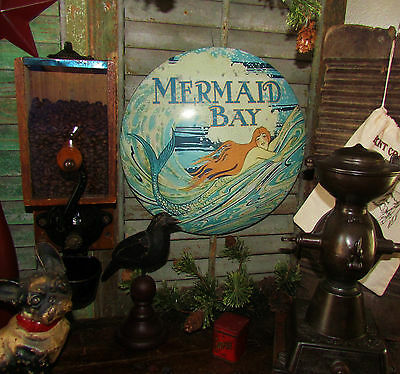 Primitive Antique Vtg Style Mermaid Sea Bay Round Dome Sign Chic Metal Tin