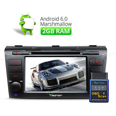 """7"""" Android 6.0 Octa Core Car DVD GPS Navigation 1024*600 for Mazda 3 + OBD-II R"""