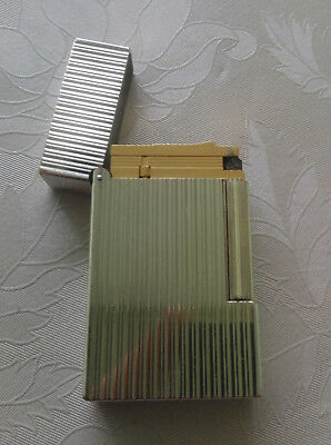 St Dupont Lighter Silver 18K Yellow Gold Plated Line Ligne 2 Vertical Lines Type