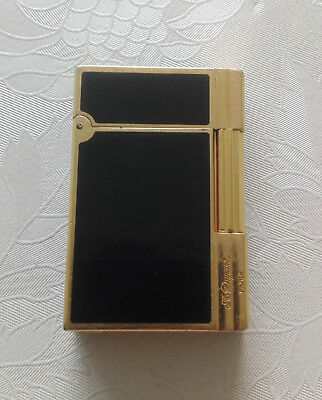 St Dupont Lighter 18K 750 Yellow Gold Plated Gatsby Black Lacquer Model