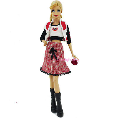 White Shirt Jacket Red Dress Sweater Boots Purse Fashion Clothes For Barbie Doll