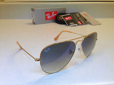 RAY-BAN RB3025 001/3F 58MM Gold Frame with Light Blue Gradient Lens