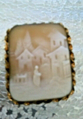 """VINTAGE CARVED SHELL HOUSE CAMEO 10K GOLD FILLED BROOCH 2"""" x 1.5"""""""
