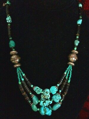 Fine Navajo Turquoise 3 Strand Necklace W Xlnt Old Pawn Sterling Silver  Beads