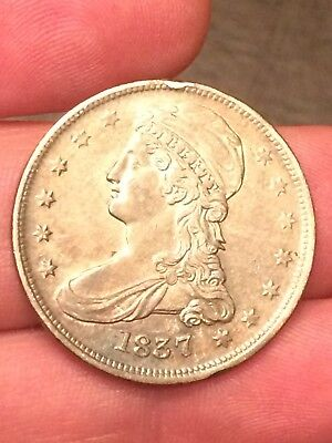 1837 Capped Bust Half Dollar. Nice Reeded Edge