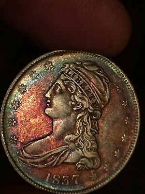 1837  Capped Bust Half Dollar. Nice Reeded Edge Album Toning