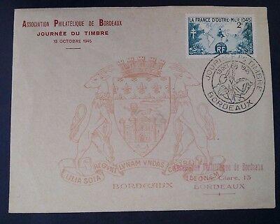 RARE 1945 France Abroad Bordeaux Philatelic Assn Stamp Show Cover ties 2Fr stamp