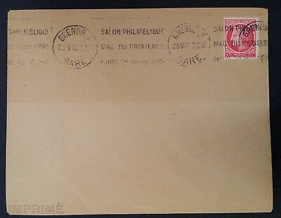 1948 France Cover ties 1Fr stamp cnc Spring Philatelic Show Paris cache Grenoble