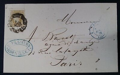 SCARCE 1876 Belgium Folded Cover ties 25c King Leopold II stamp canc Brussels