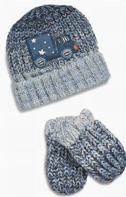 Next Hat & Mittens Set, Blue, Transport, 5-6 Years. BNWT