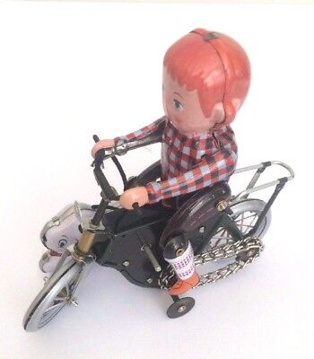 TIN TOY BOY ON Bike with DOG   CLASSIC TIN TOY COLLECTORS  WIND UP CLOCKWORK