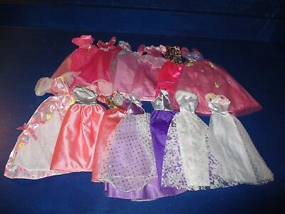 """Authentic Barbie Clothes Lot Ballgowns Pink """"B"""" and Purple """"B"""" Labels"""