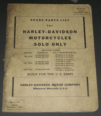 Official SPARE PARTS LIST Harley Davidson Motorcycles Solo Only 1940-1942