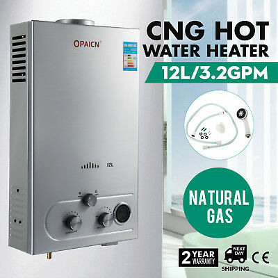 Home 12L Natural Gas Hot Water Heater Boiler Stainless Steel 24kw 3.2 GPM CNG