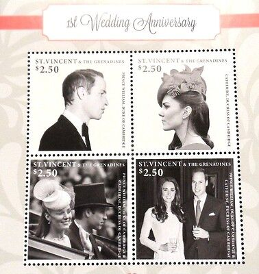 "Mint Block Of 4 Stamps,""duke/duchess Of Cambridge, 1Rst Wedding Anniversary"