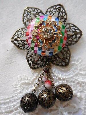 Vintage Repurposed Upcycled Multicolour Brooch, Unique/Handmade & One of a Kind