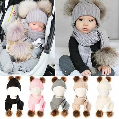 Toddler Baby Boy Girls Winter Warm Knit Crochet Fur Pom Hat Beanie Cap And Scarf