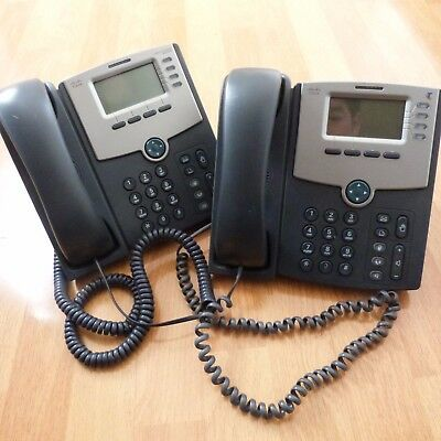 Lot of 2 x CISCO SPA504G 4-LINE IP VoIP PHONE LCD DISPLAY + STAND